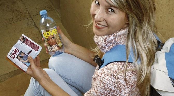 magazine on a bottle